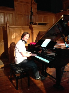 Laying down the piano at Acapela Studios South Wales. For a future release of songs written with Cecilia Le Poer Power.
